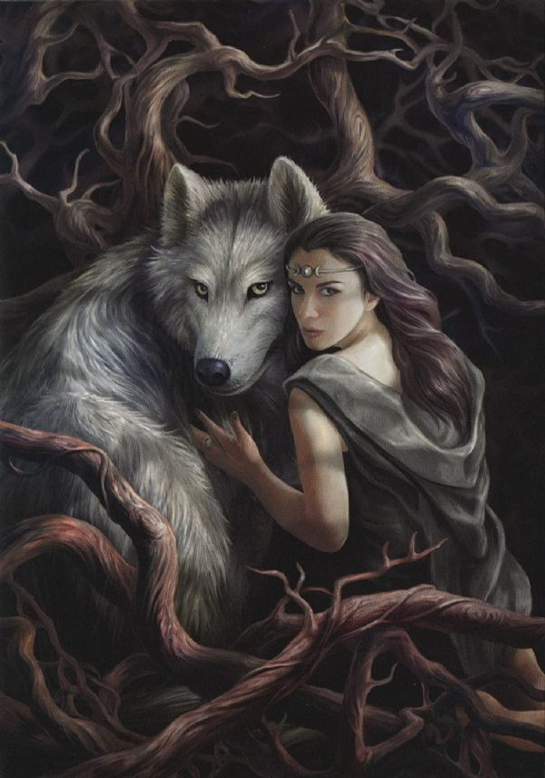 Anne Stokes Soul Bond Wolf Greeting Card